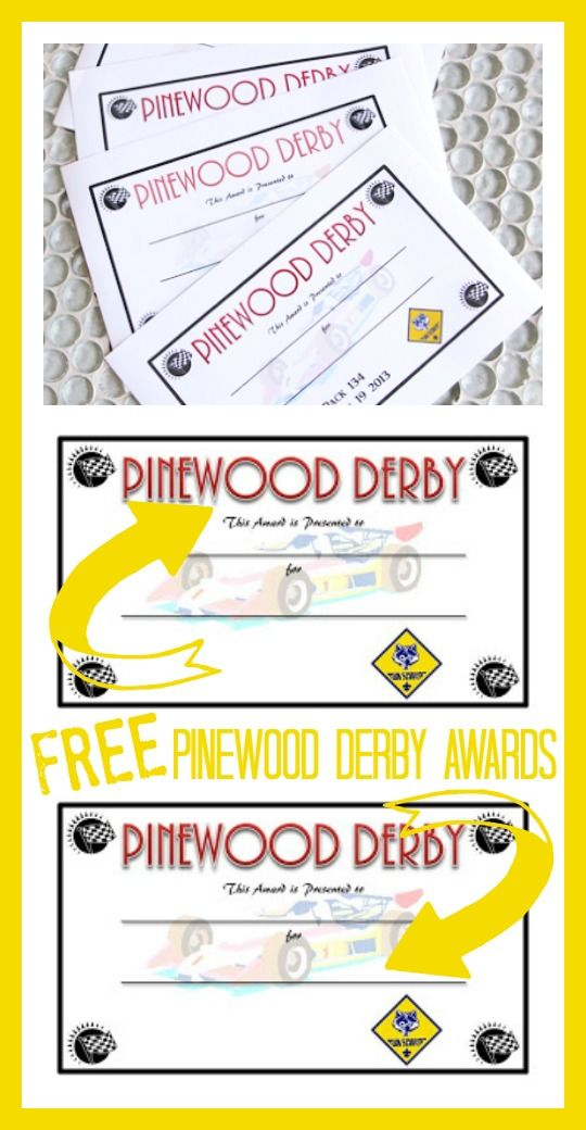 DIY Pinewood Derby Trophies and Certificates | Pinterest