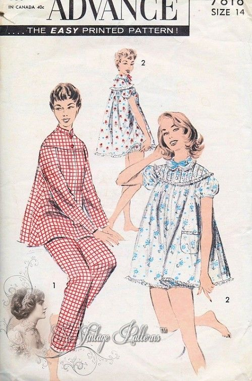 1950s Pin Up Style Baby Doll Shortie PJs Pattern Includes Top and Long Pants  Pajamas Shortie Pyjamas Set Includes Bloomers Advance 7818 Vintage sewing  ... 01de4d374