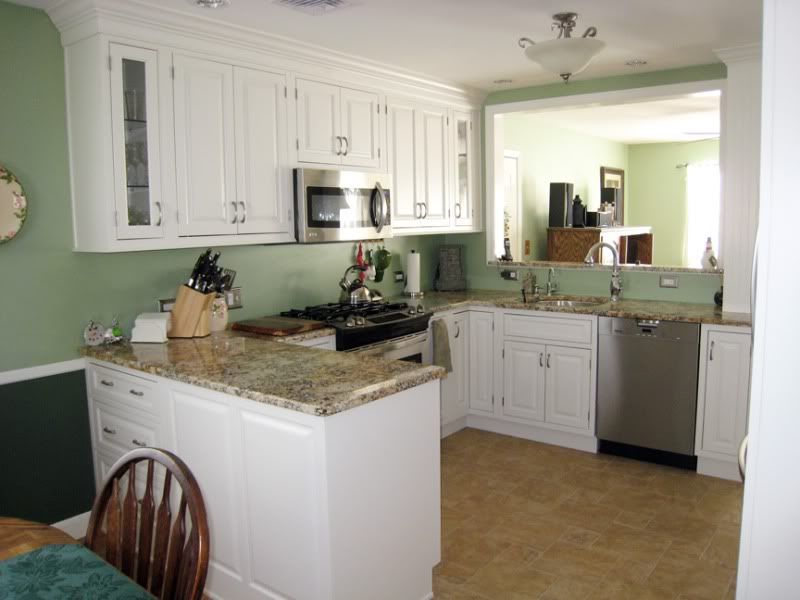 Kitchens With White Cabinets And Wood Floors  Porcelain Tile Floor I