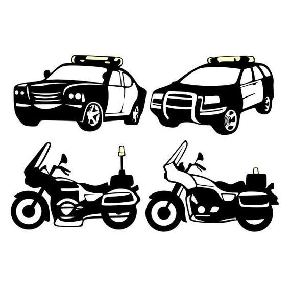 Police Cars Bike Vehicles Cuttable Design SVG PNG DXF & eps | Etsy