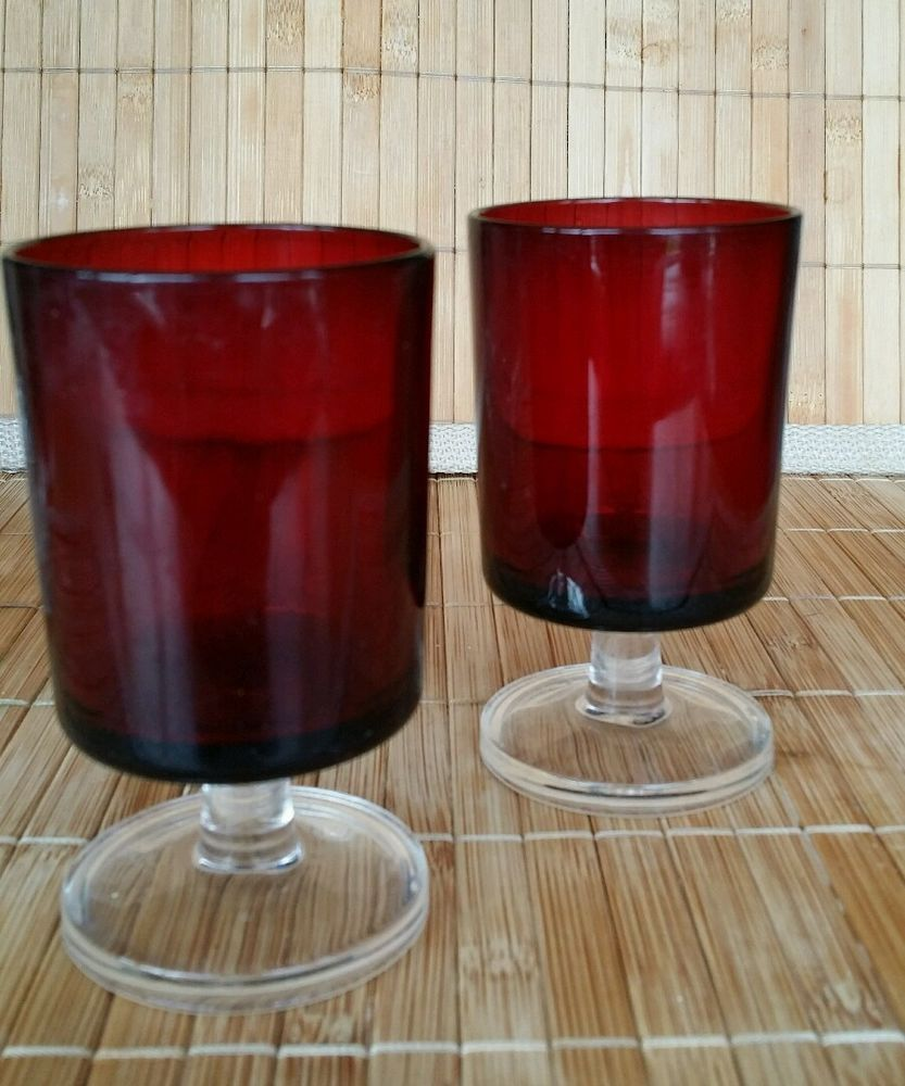 Vintage 2 Ruby Red Glasses Wine Sherry Shots Glasses Made In France Pottery Porcelain Glass Glass Date Red Glasses Shot Glasses Antique Glass