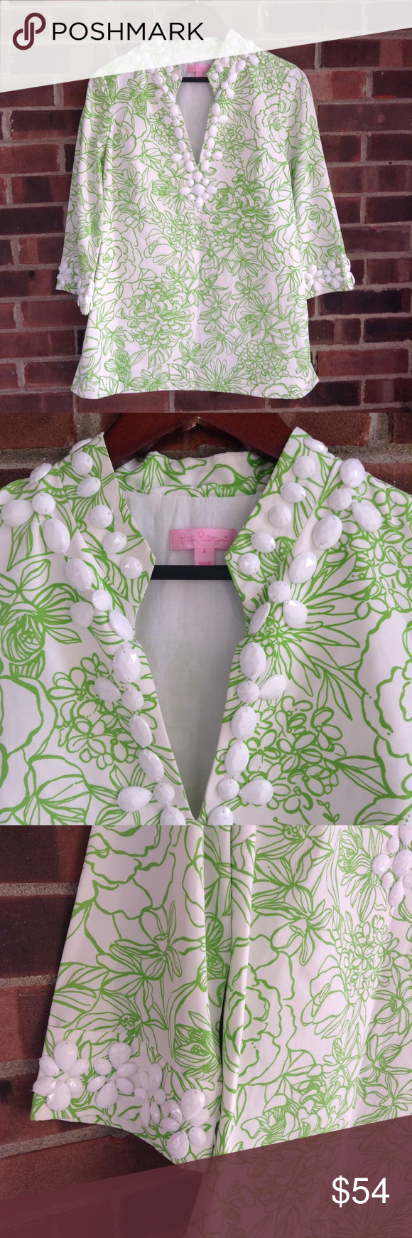 4d180ea9446254 NWOT Lilly Pulitzer Newbury caftan tunic with bead Brand new, never worn,  this stunning Lilly Pulitzer Newbury tunic in