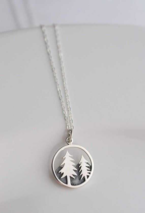 Photo of Items similar to 925 Sterling Silver Pine Tree Necklace – Nature Lover Hiking Gift for Her – Wanderlust Forest Mountain Necklace – PNW Nature Necklace on Etsy – Products
