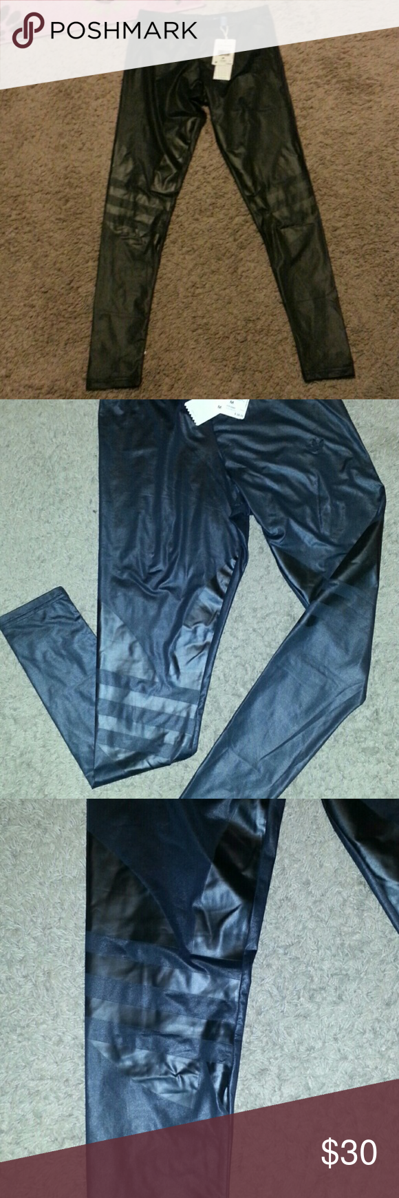 Adidas EF TRF Leggings Color: black  Brand new with tags Size Medium Adidas originals Has the adidas logo on the leggings. Leggings are of shiny and stretchy material Adidas Pants Leggings