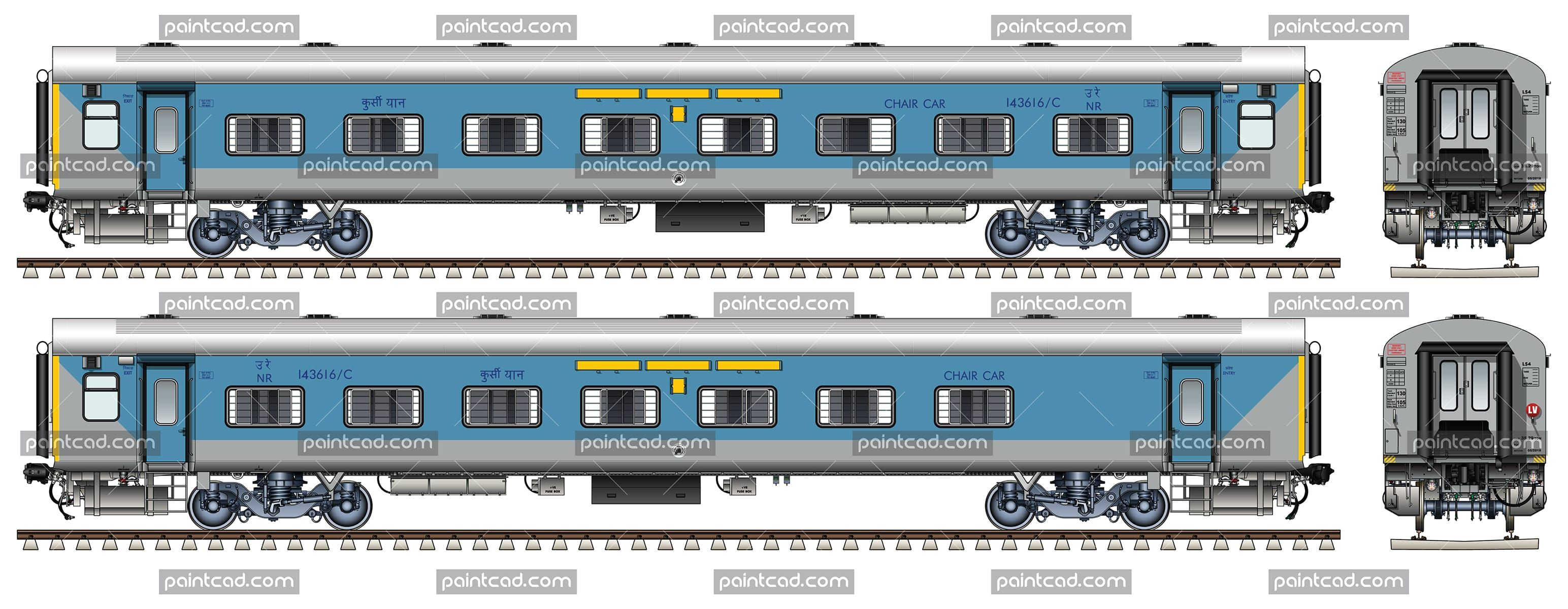 indian lhb eog non ac chair car in livery of taj express chemin de