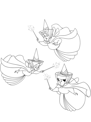 Three Good Fairies Flora Fauna And Merryweather Coloring Page Sleeping Beauty Fairies Fairy Coloring Pages Sleeping Beauty Coloring Pages