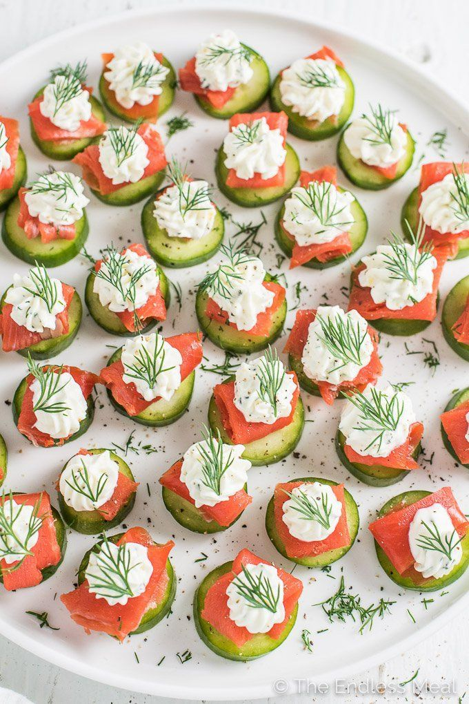 Mini Cucumber Smoked Salmon Appetizer Bites with Lemon Dill Cream Cheese #appetizersforparty