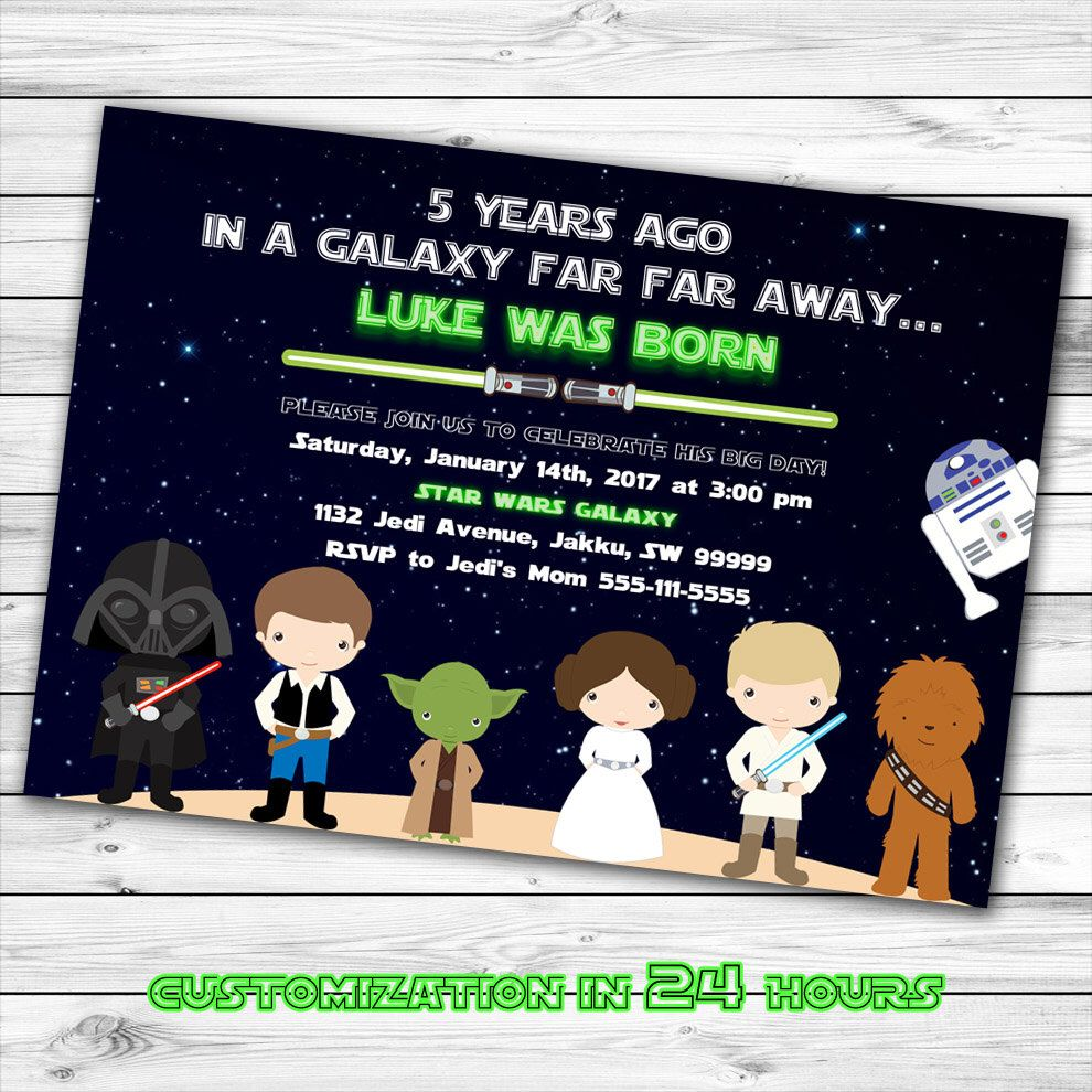Star Wars Invitation, Star Wars Birthday Invitation, Star Wars ...