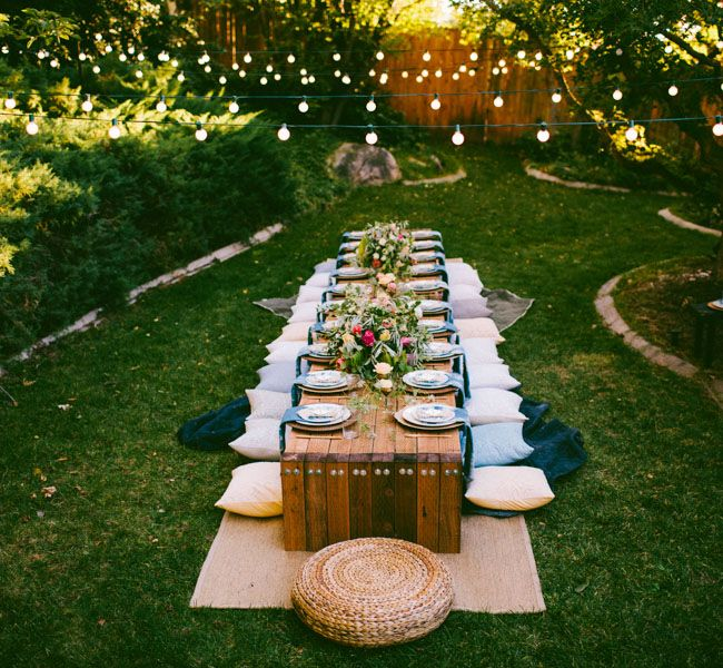 e541152531ae 10 Tips to Throw a Boho Chic Outdoor Dinner Party (or intimate wedding).  Find lost cost alternatives at Afloral.com. Silk flowers