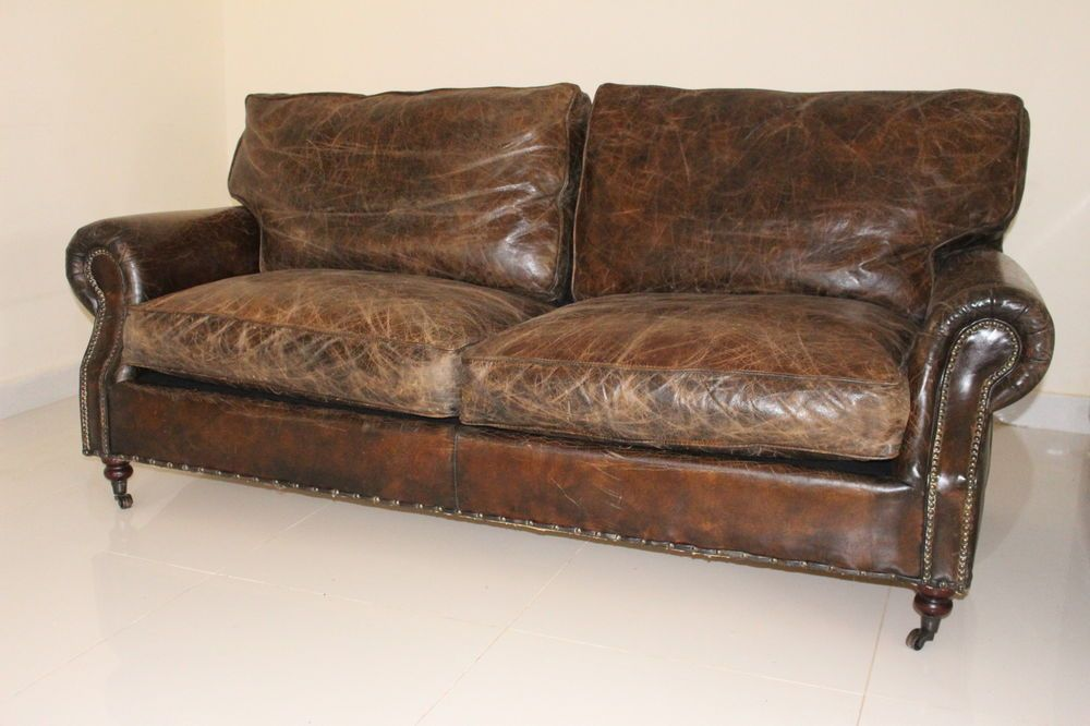 Vintage Antique Distressed Brown Cigar Leather Sofa Victorian