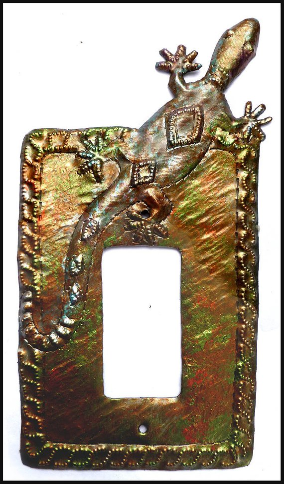 Gecko Rocker Switch Plate Cover Iridescent Metal Switchplate