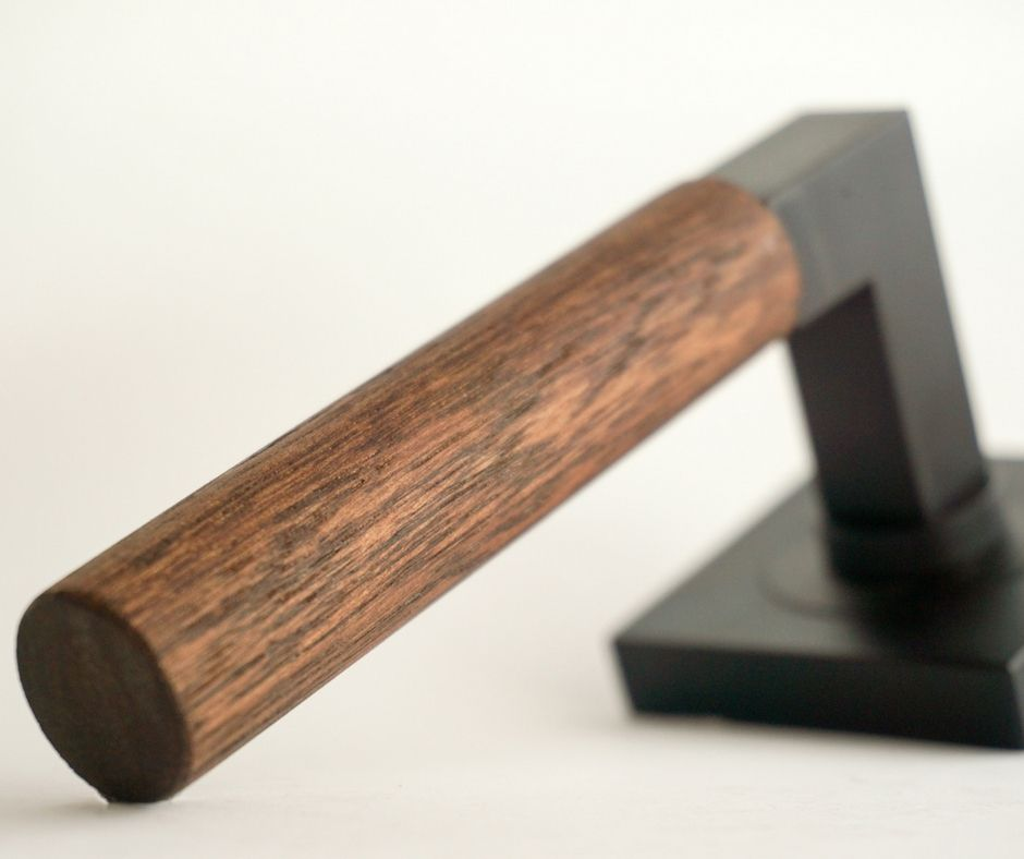 Timber Lanex Door Handle - The wood handpiece blends the shapes of a cylinder and cuboid, giving it a decorative look.
