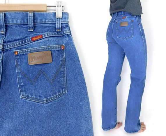 d6e9291b Size 10 L 90s High Waisted Wrangler Mom Jeans - Vintage Straight Leg Faded  Medium Blue Tall Women's Jeans - Denim Cowgirl Dungarees