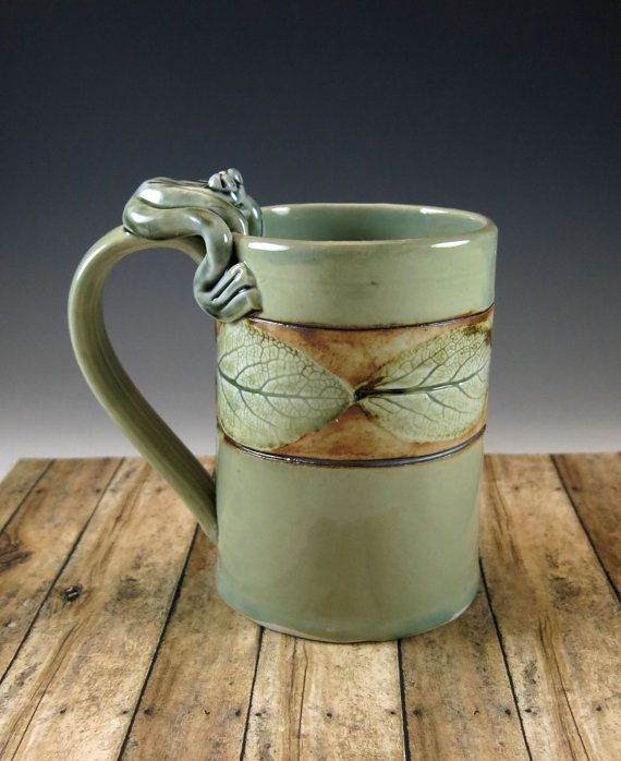 Nature theme leaf pottery mug in celedon 566 by for Handmade mug designs