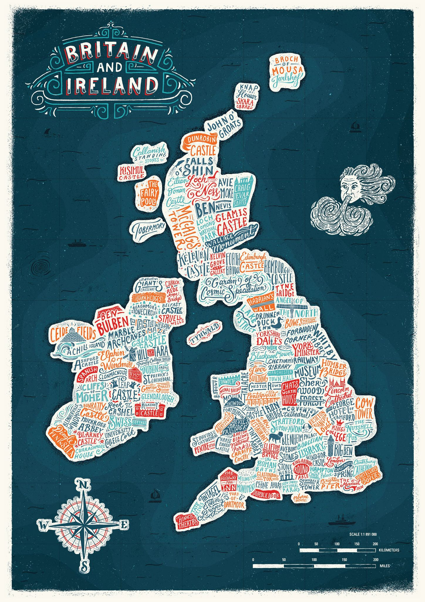 Typographic Britain and Ireland Colour Map Print Great