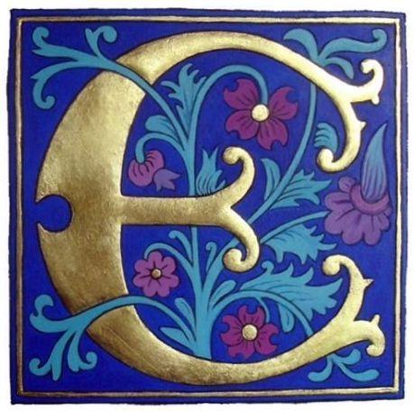 Image result for illuminated E | calligraphy project | Illuminated