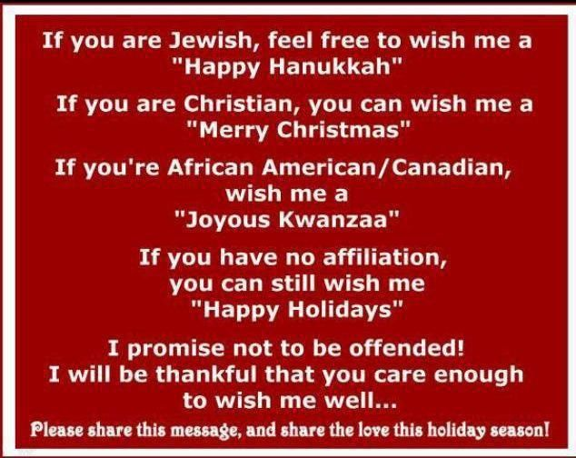 If you are jewish feel free to wish me a happy hanukkah for Happy christmas vs merry christmas