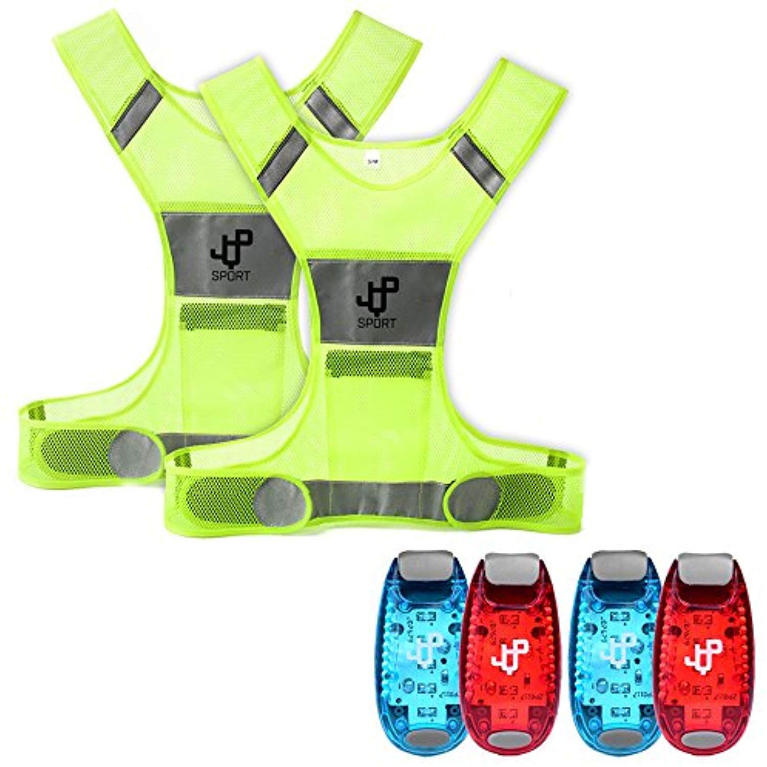 JQP Sports Running Vest and 4 LED Safety Light Sets (4