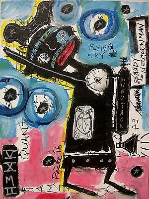 POETE-MAUDIT-Naive-Outsider-Painting-SPEEDY-NEUTRON-MAN-SAVES-THE-WORLD