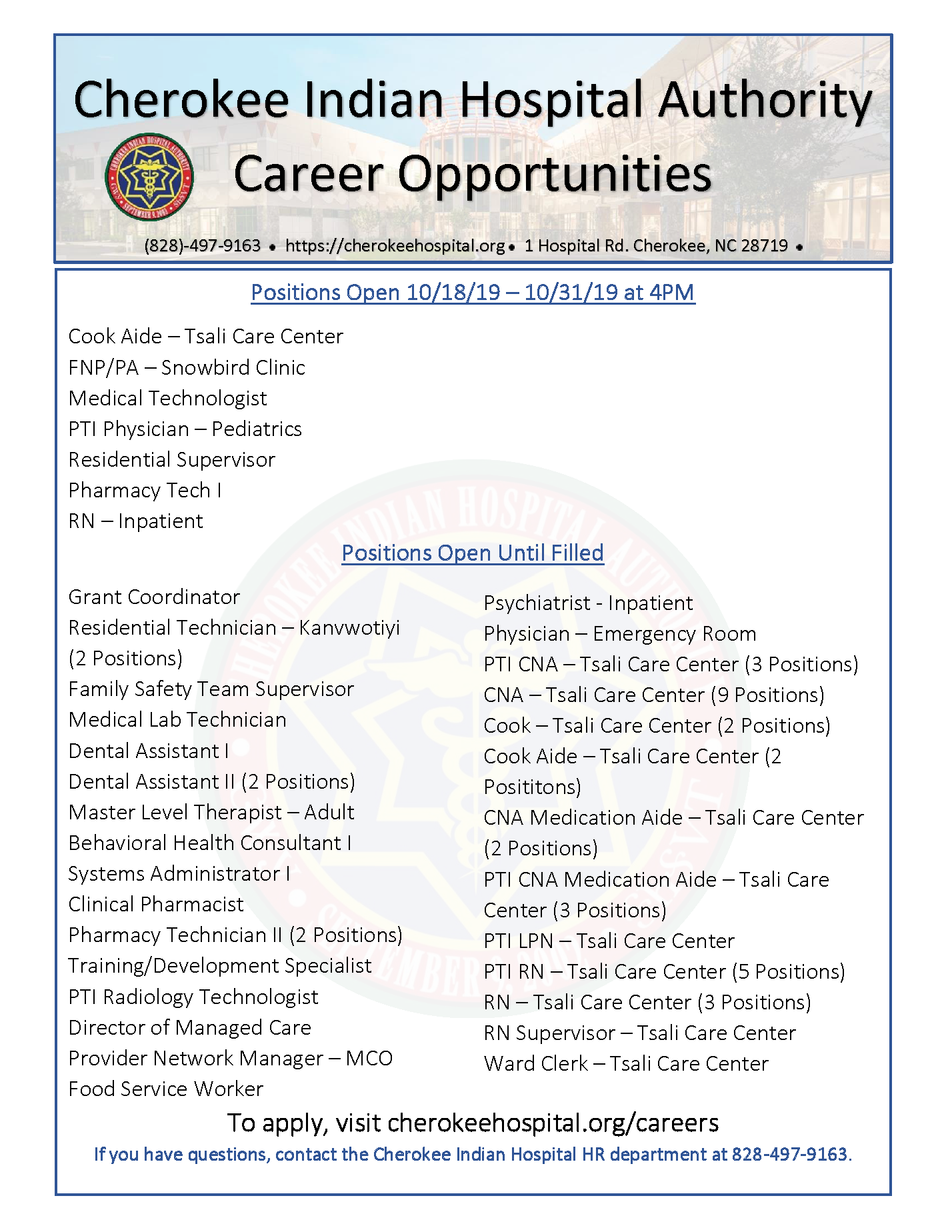 Cherokee Indian Hospital Career Opportunities S
