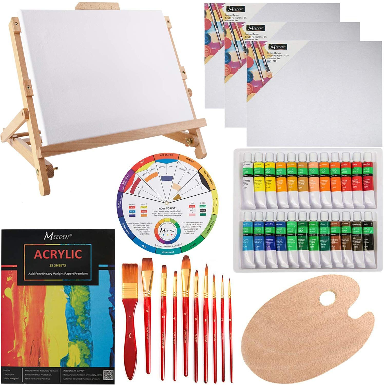 Meeden 42 pcs acrylic painting set with wood table easel