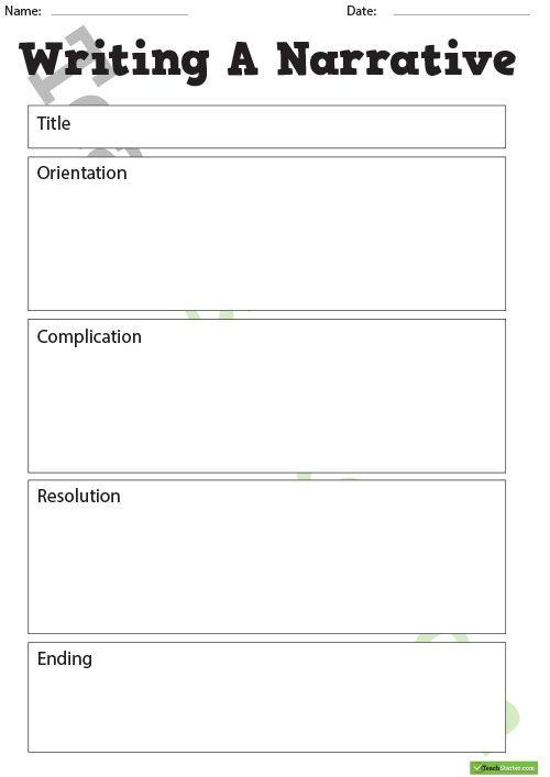 Writing a Narrative Template Teaching Resource Narrative Writing - writing template