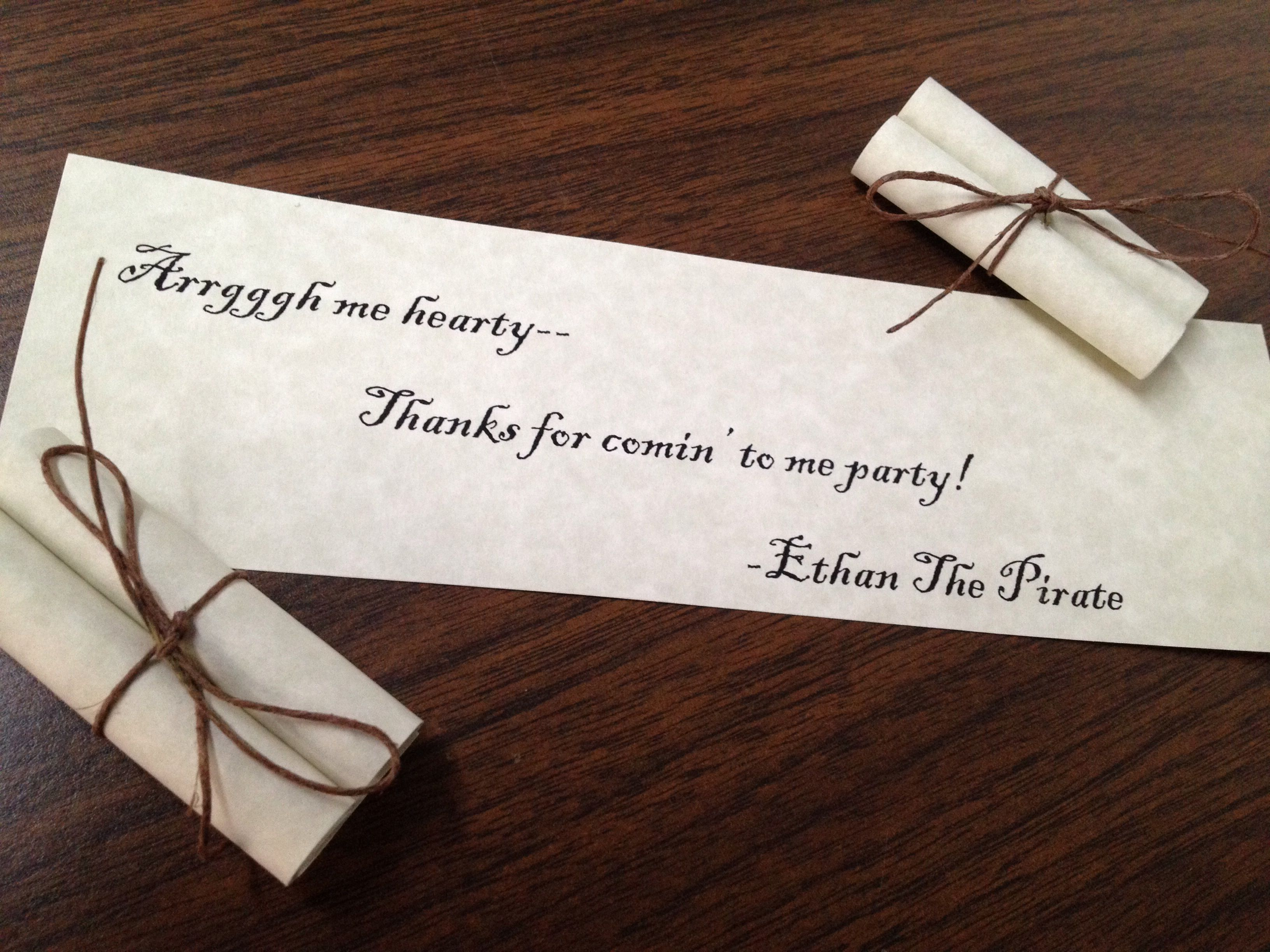 Thank you notes place in take home goodie bags. | Xander birthday ...