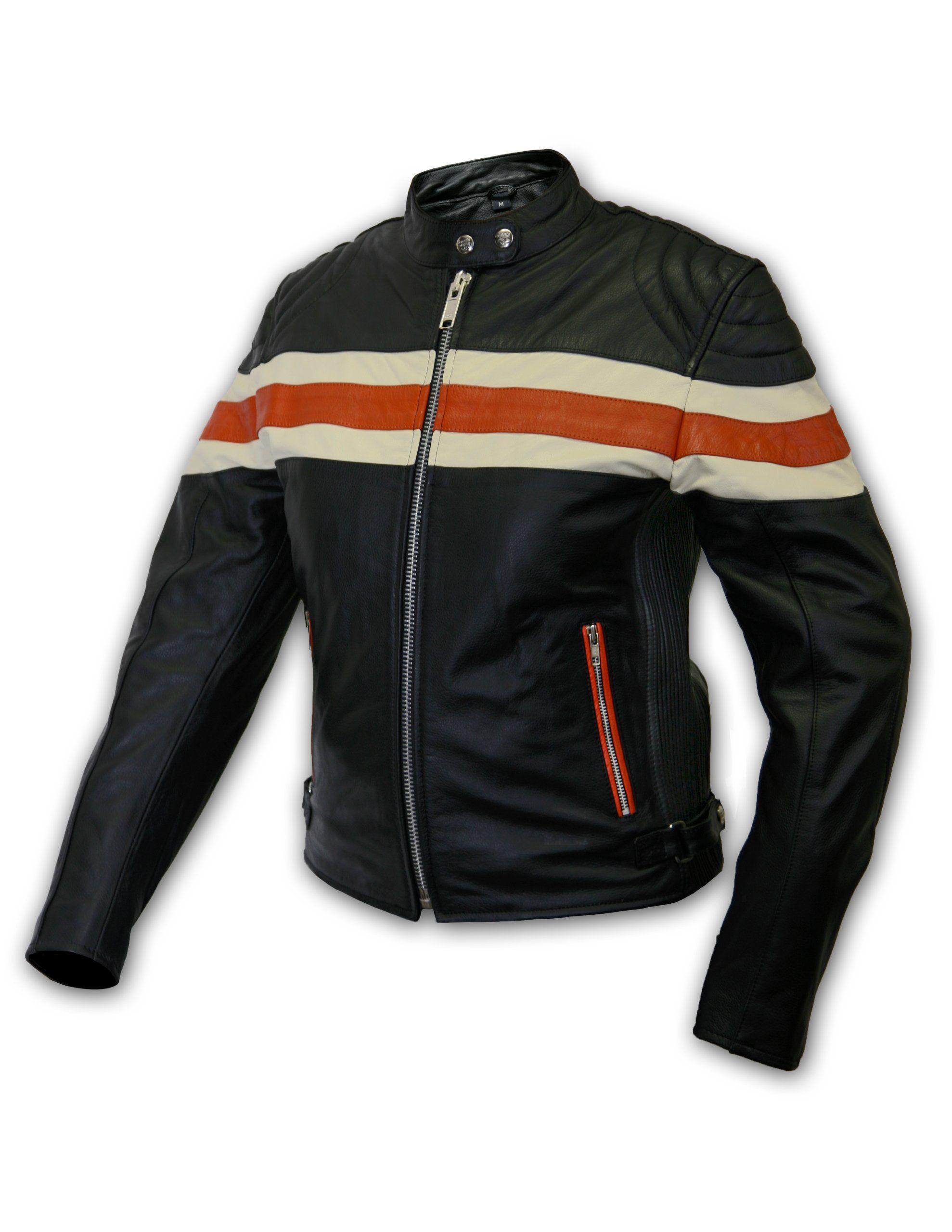 Interstate Leather Ladies Stripe Jacket Black Orange Medium Leather Motorcycle Jacket Women Striped Leather Jacket Striped Jacket [ 2560 x 1978 Pixel ]