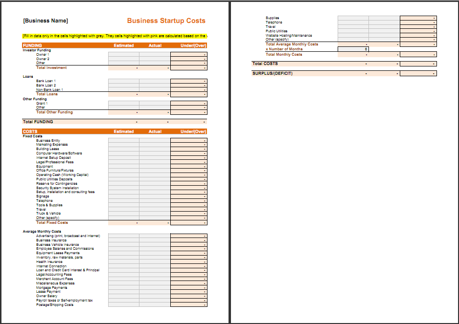 startup expenses template choice image templates design ideas business plan startup costs template