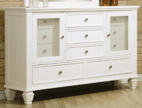 Storage Dresser With Glass Doors In White Finish White Dresser Coaster Furniture Furniture White dresser glass doors wallpaper