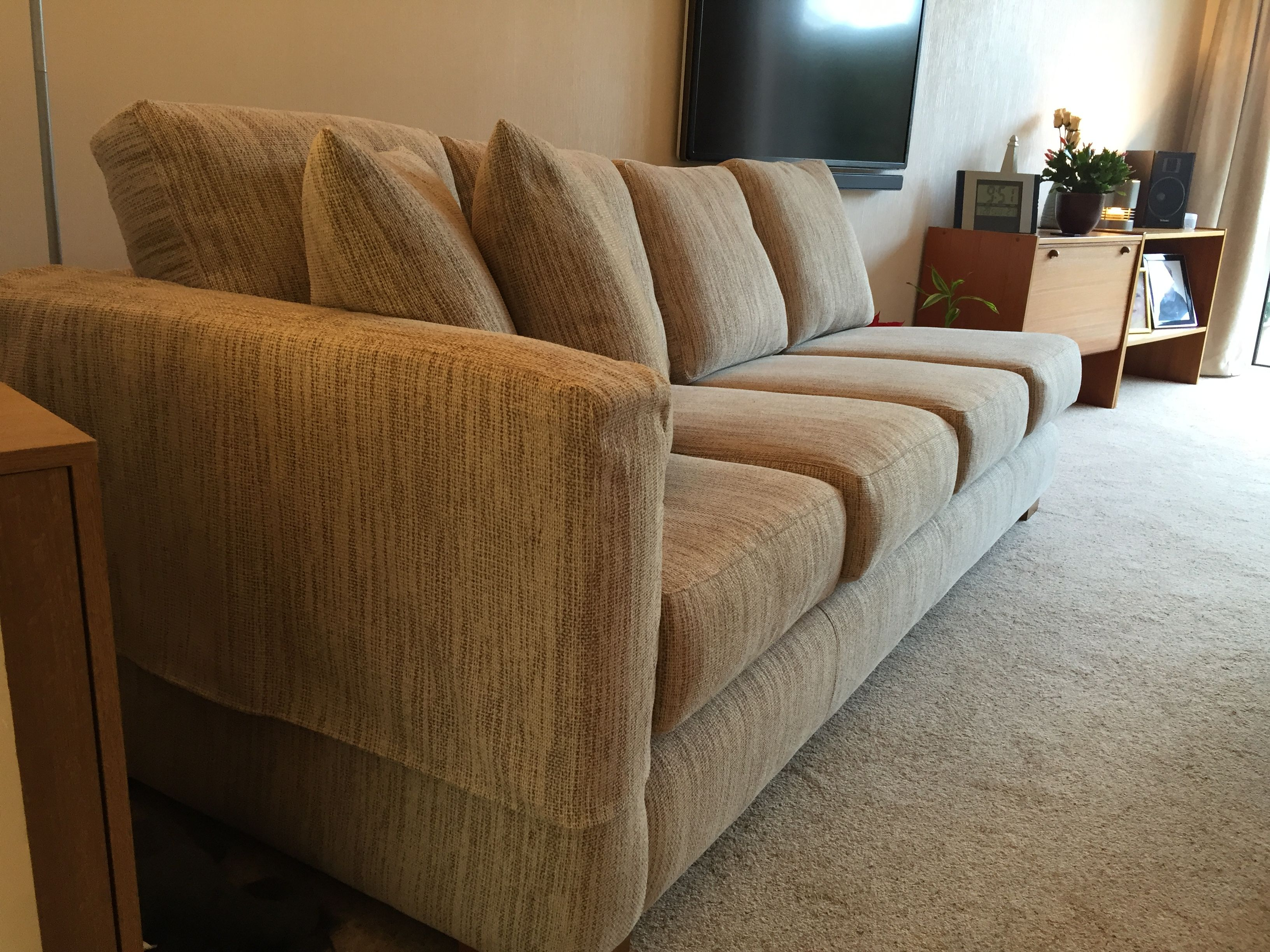 Bespoke one arm Mapperley sofa 212 cm x 85 cm. The left
