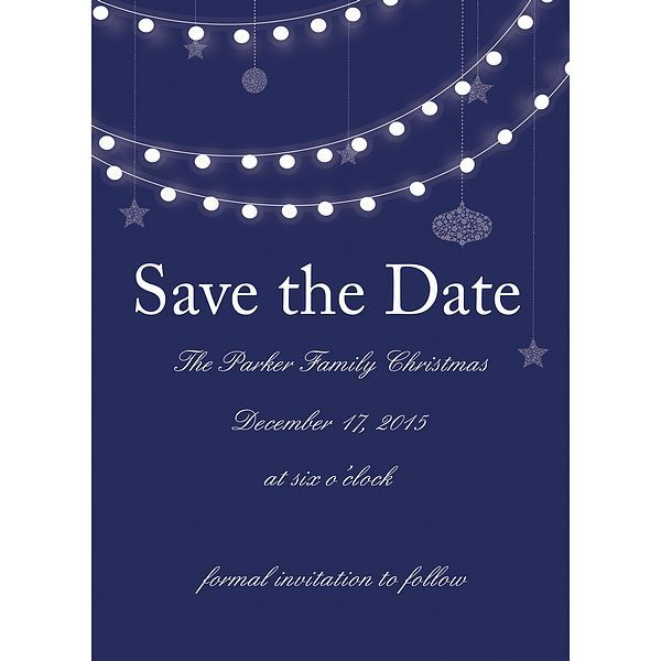 5 X 7 Holiday Lights Christmas Party Save The Date Cards