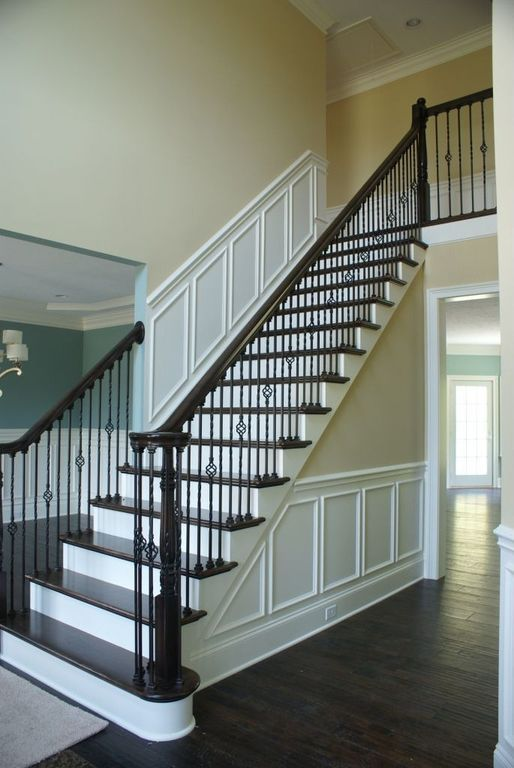 Lovely Traditional Staircase With Loft, Floating Staircase, High Ceiling,  Wainscoting, Crown Molding, Hardwood Floors, French Doors