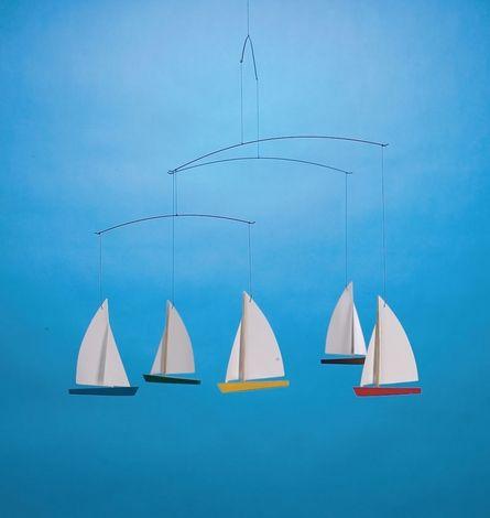 Flensted Five 5 Boats Dinghy Regatta Modern Baby Hanging Mobile Art Decor