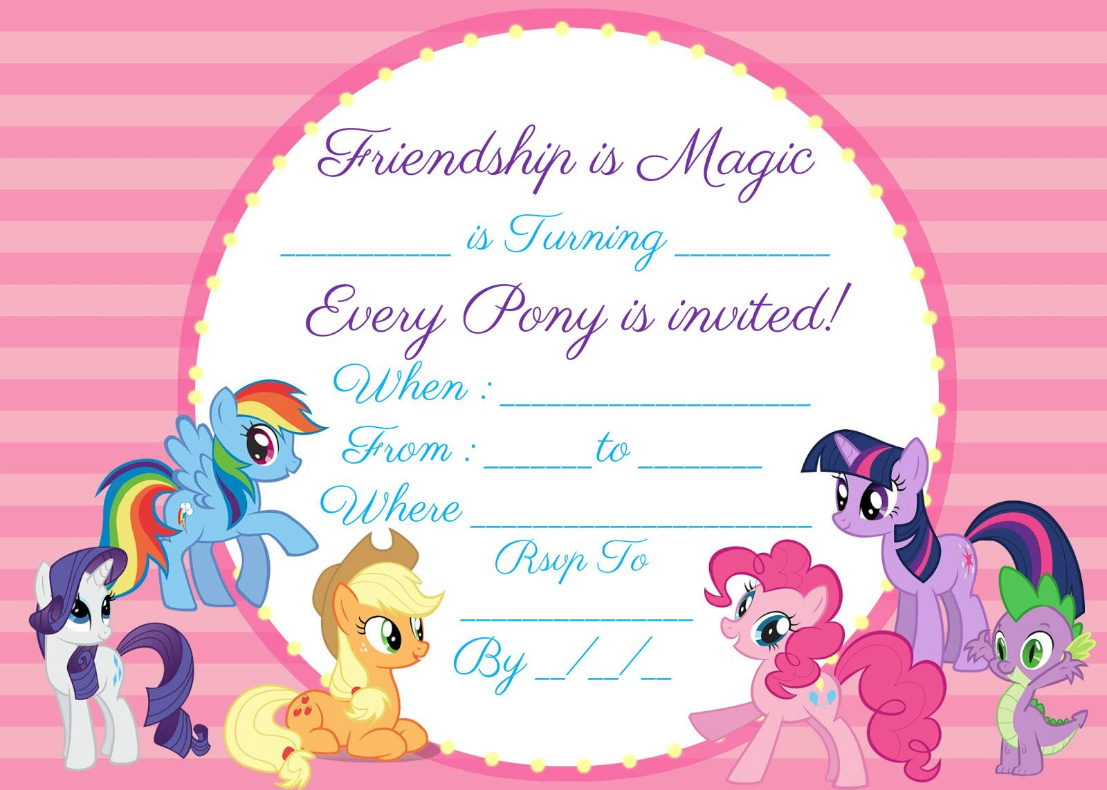 My Little Pony Invitation Free Instant Download Encore Kids Parties My Little Pony Birthday My Little Pony Invitations Pony Birthday