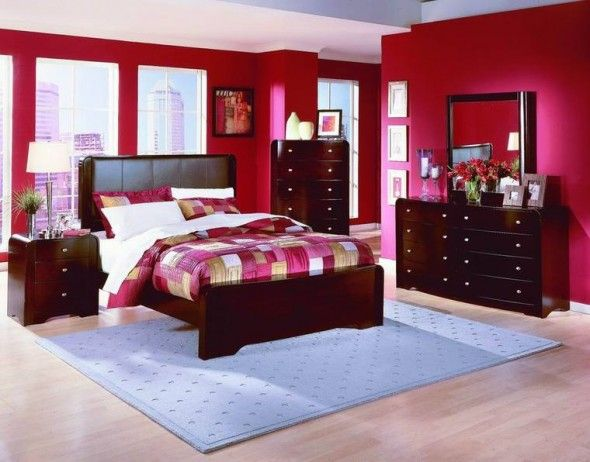 Cool Brilliant Fascinating Modern Bedroom Design Idea With Bright Red Wall Color Bedroom Ideas