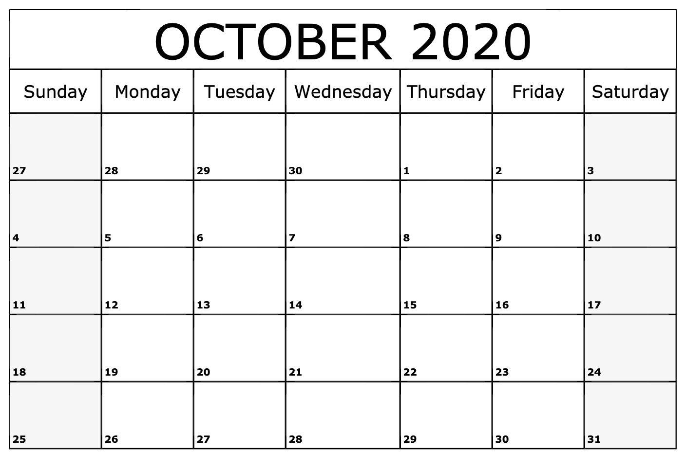 October Calendar 2020 Printable.2020 October Calendar 2020 Calendar Template October