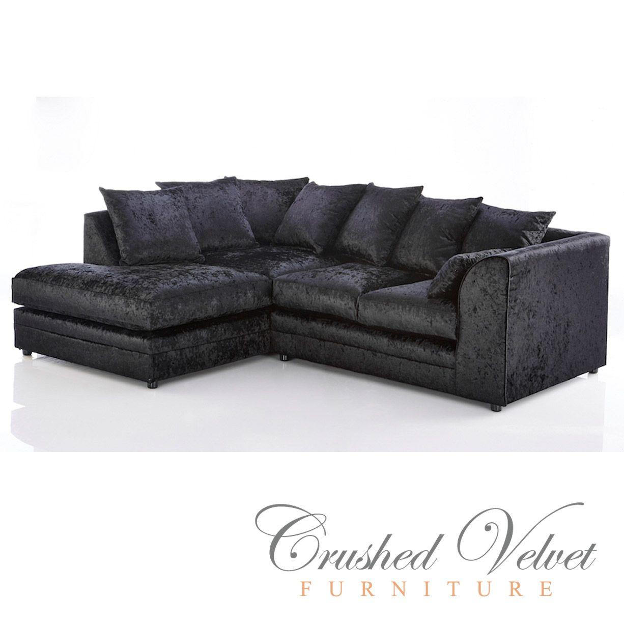 Michigan, Crushed Velvet, 4 Seater Sofa, Black, Left Hand Corner Sofa