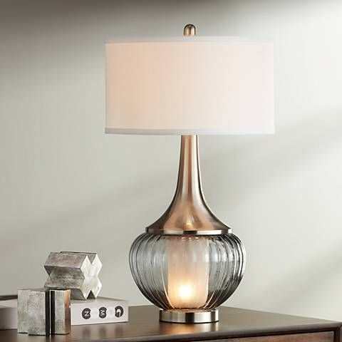 Courtney Metal and Glass Night Light Table Lamp - #19P17 ...