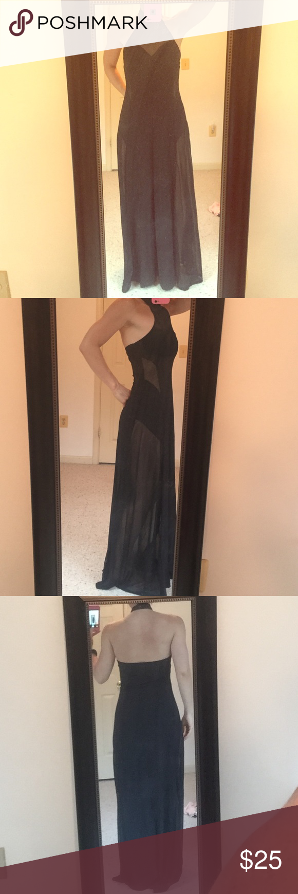 Forever 21 black dress Forever 21 black dress with sheer cut outs. Worn once. My measurements are 34C, 29 inch waist, 40 inch hips. Could also fit a 36C/34D. Excellent condition, smoke free home. Forever 21 Dresses