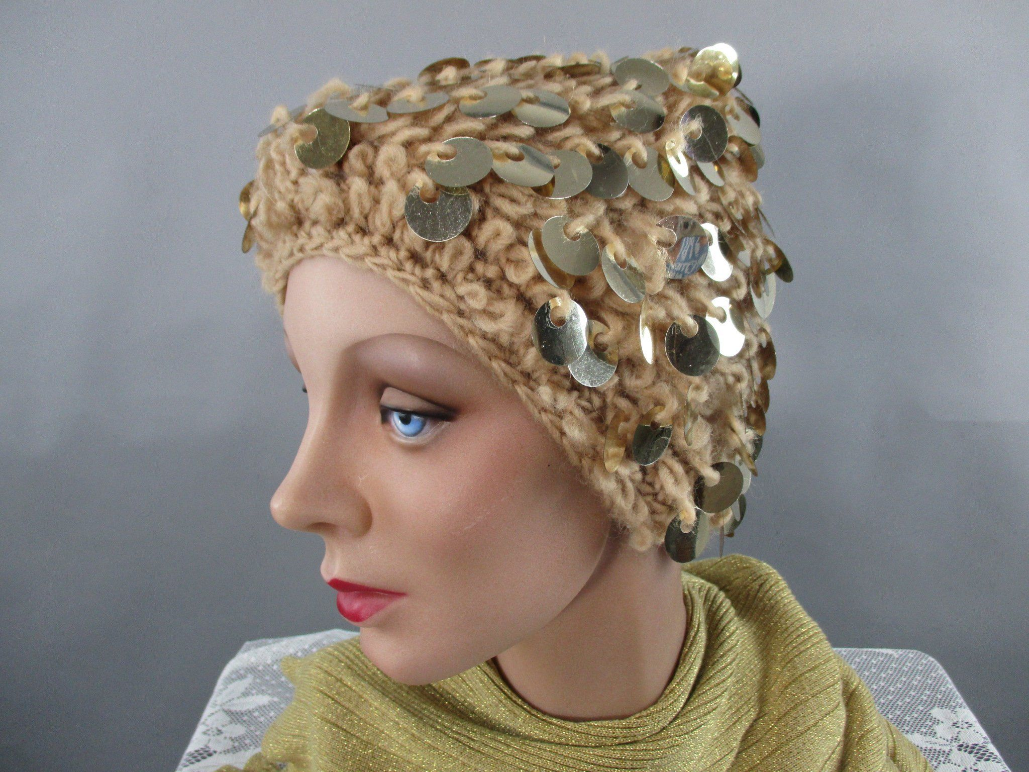 714454c410d604 Vintage Gold Knit Hat, Sequin Crochet 1960s Glam Winter Hat by  LadyScarlettsVintage on Etsy