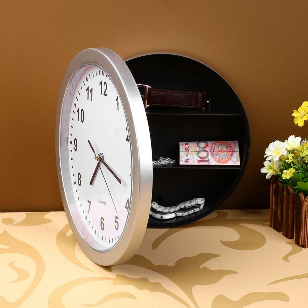 Creative Wall Clock Safe Money Jewellery Container Mechanical