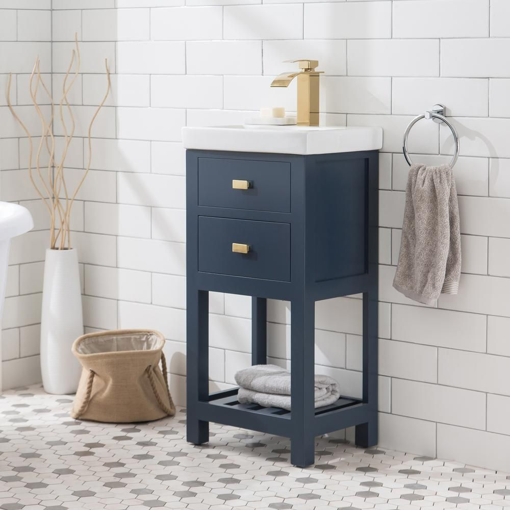 Water Creation Vera 18 In W Bath Vanity In Monarch Blue Finish With Ceramics Integrated Vanity Top With White Basin Vera18mb The Home Depot Water Creation Single Bathroom Vanity Vanity Top