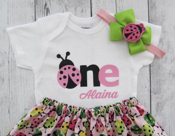 307502fa7 Ladybug First Birthday Outfit - pink lime, pink ladybug, first birthday  outfit girl, summer birthday