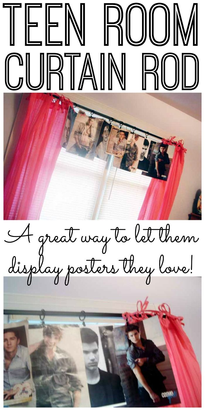 This teen room curtain rod makeover is a great way to let them display posters and more in their rooms!