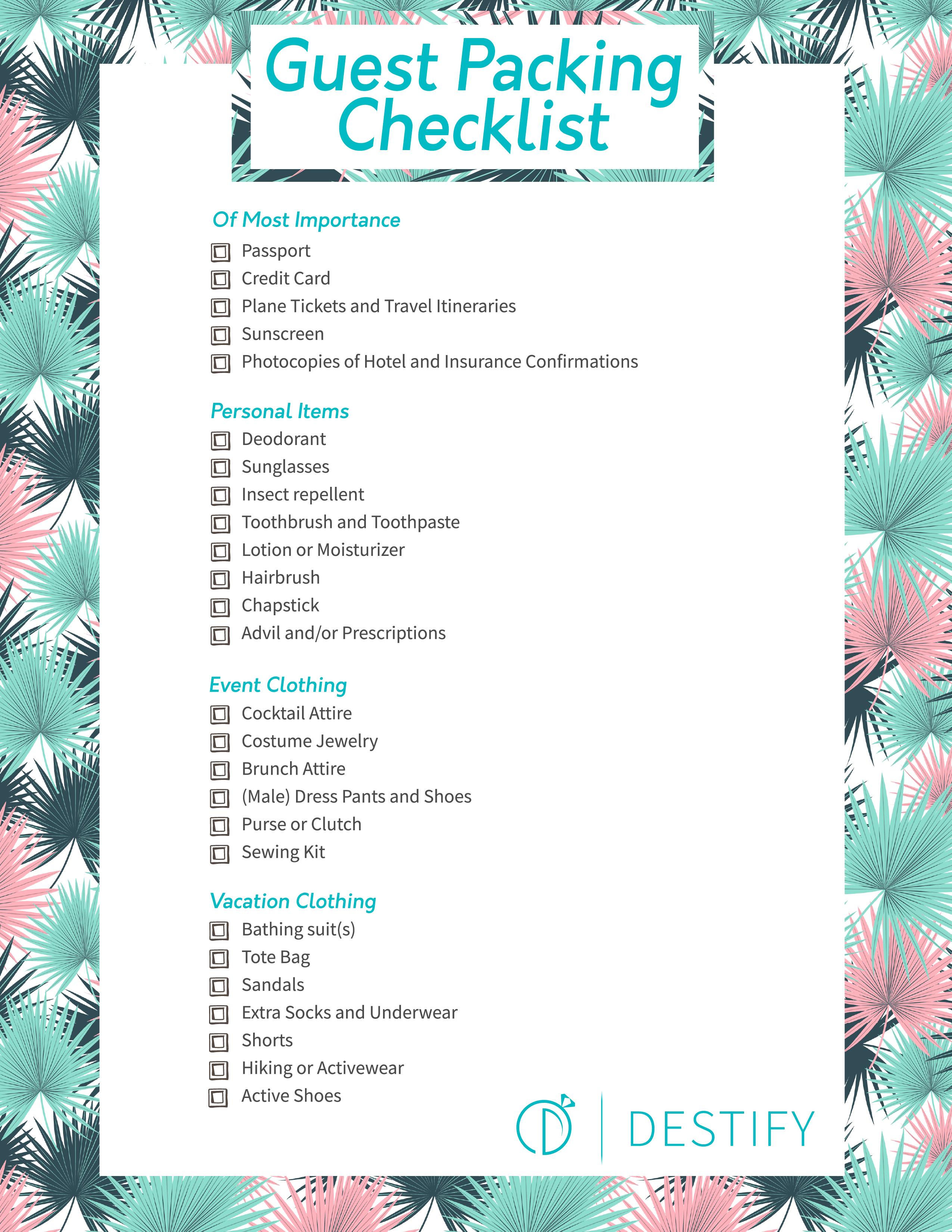 Destination Wedding Guest Packing Checklist Checklist Destination Guest Pack In 2020 Destination Wedding Guest Wedding Guest Checklist Destination Wedding Checklist
