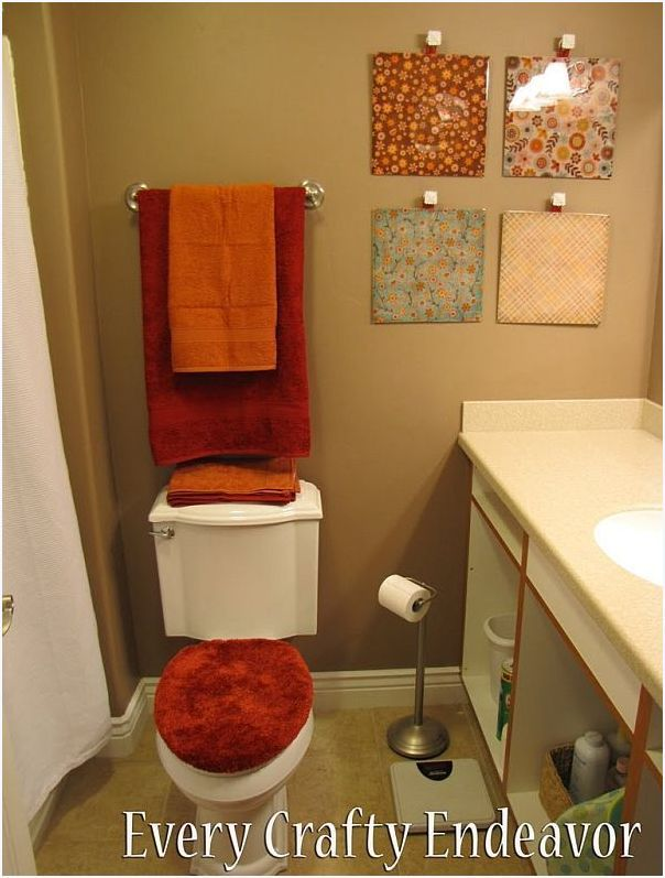 Bathrooms should be creatively decorated towels functionally displayed and we chose for diy wall decor