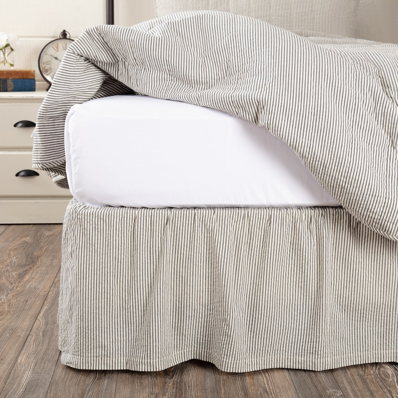 Hatteras Seersucker Blue Ticking Stripe Bed Skirt Ticking Stripe Bedding Striped King Bedding Striped Bedding