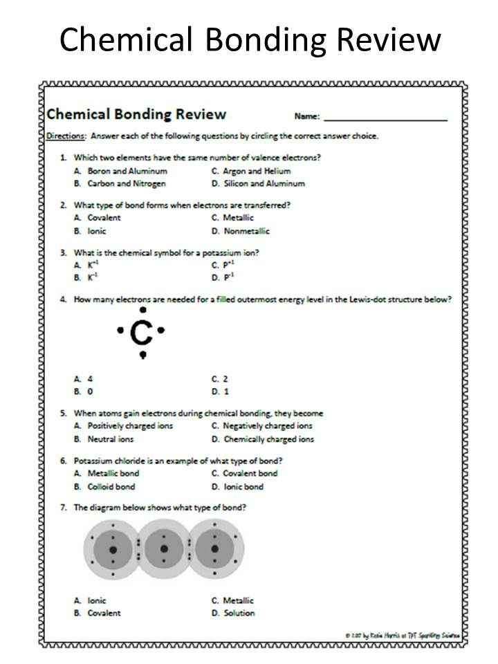 Chemical Bonding Review Worksheet 8th Grade Science I M