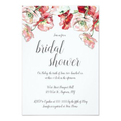 Pink Grey Floral Bridal Shower Invitations